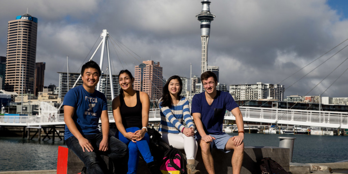 34078_EC Auckland students enjoying Viaduct Harbour in Auckland.